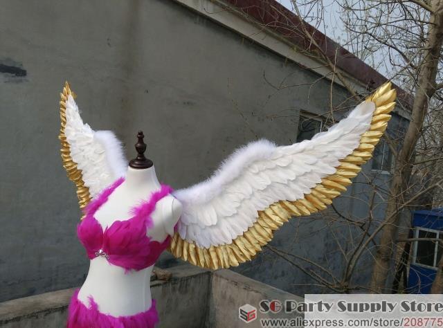 ailes de fée sexy Photographie affichage Bar mariage décorations cosplay créatif props ailes en plumes d'or blanc + expédition EMS gratuit