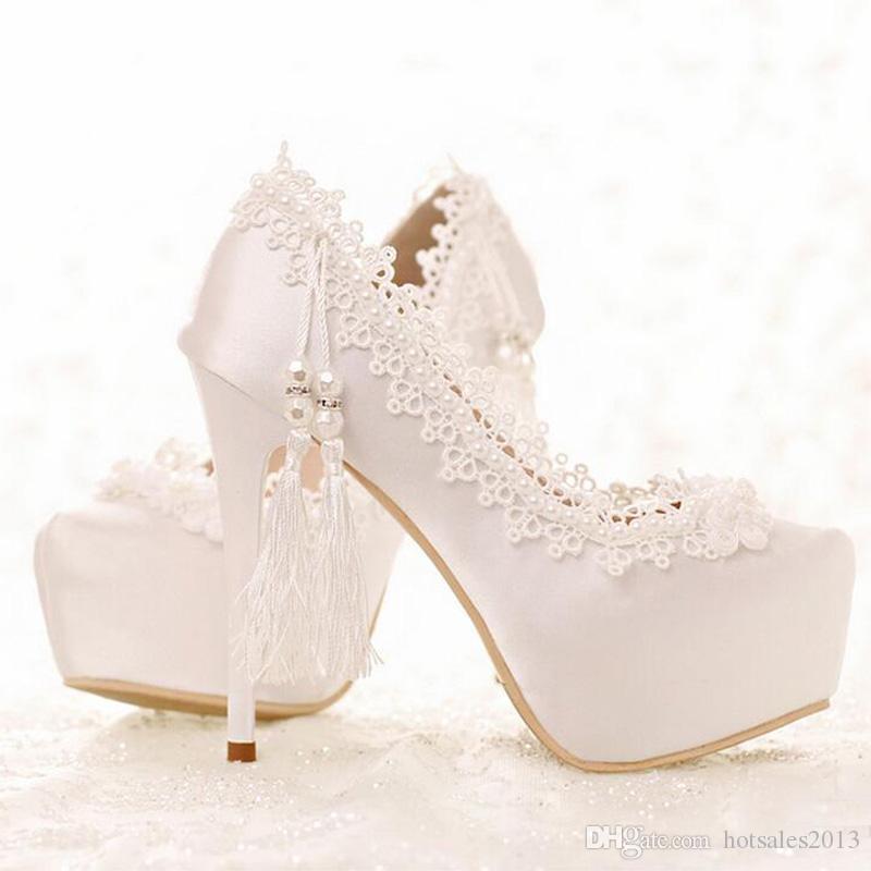Süße weiße Spitze Brautkleid Schuhe Frühling und Sommer Lady High Heels Hochzeit Satin Shose Abschlussfeier Prom Pumps