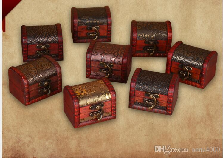 trasporto libero contenitore di immagazzinaggio dell'organizzatore dei monili dell'annata Mini contenitore di legno del modello del metallo del contenitore di legno fatto a mano piccolo di legno