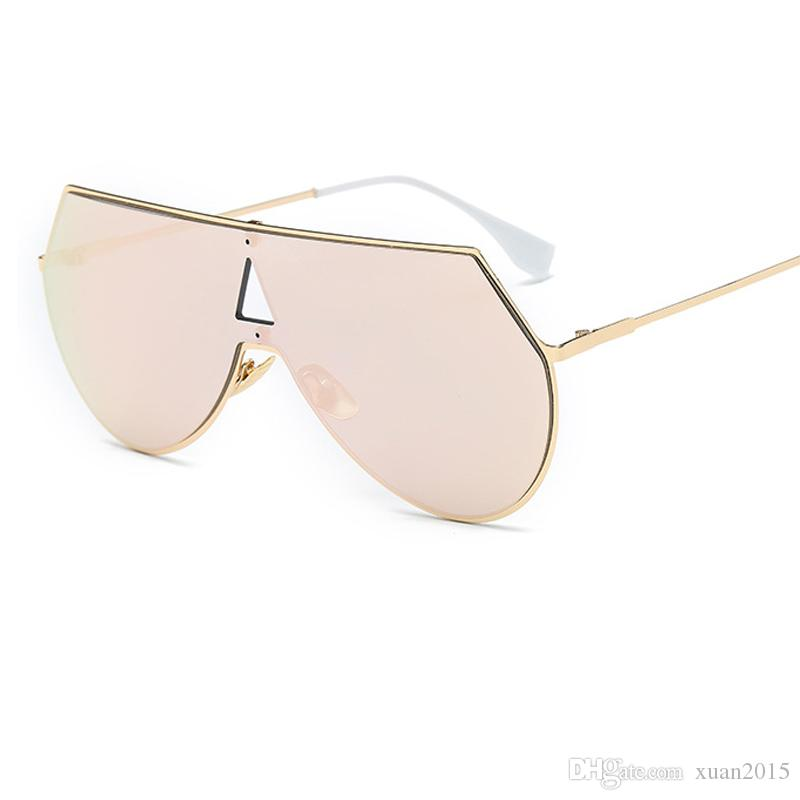 72c1ede609bc Unique Shield Oversized Aviation Sunglasses Women Men Fashion One ...