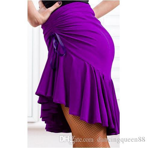 2018 Falda Latin Dance Violet / Black Latin Dance Dress para Lady Latin Dance Wear Cha Cha / Rumba / Samba / Tango / Ballroom Dancing Skirts