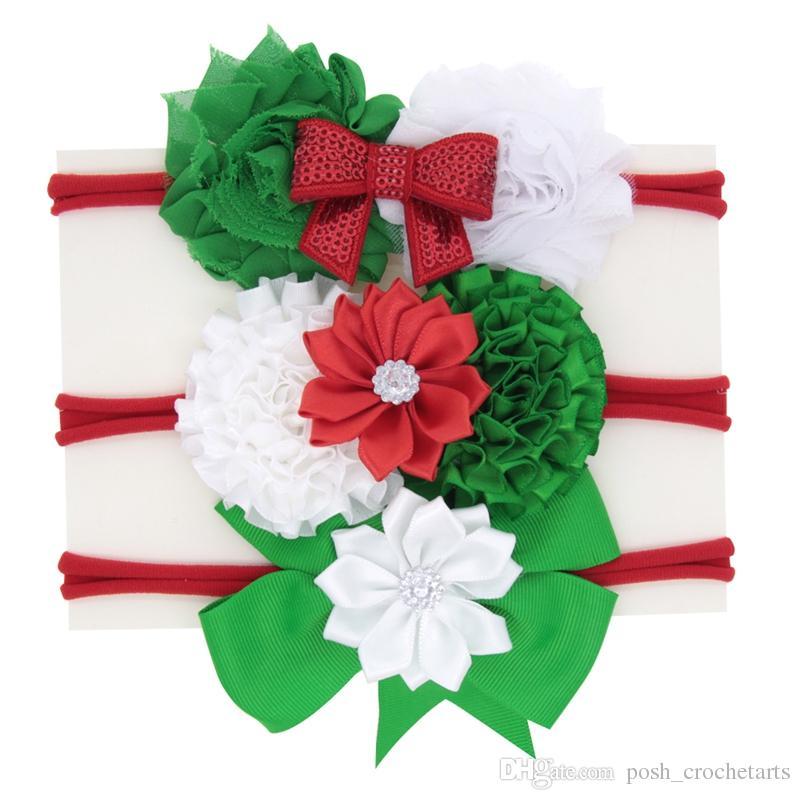 Christmas Headbands For Baby And Toddlers Glitter Handmade Girls Hairbands  Ribbon Bow Xmas Hairband Elastic Baby Hairband Unique Bunchem Prom Hair ... b6c452ba251