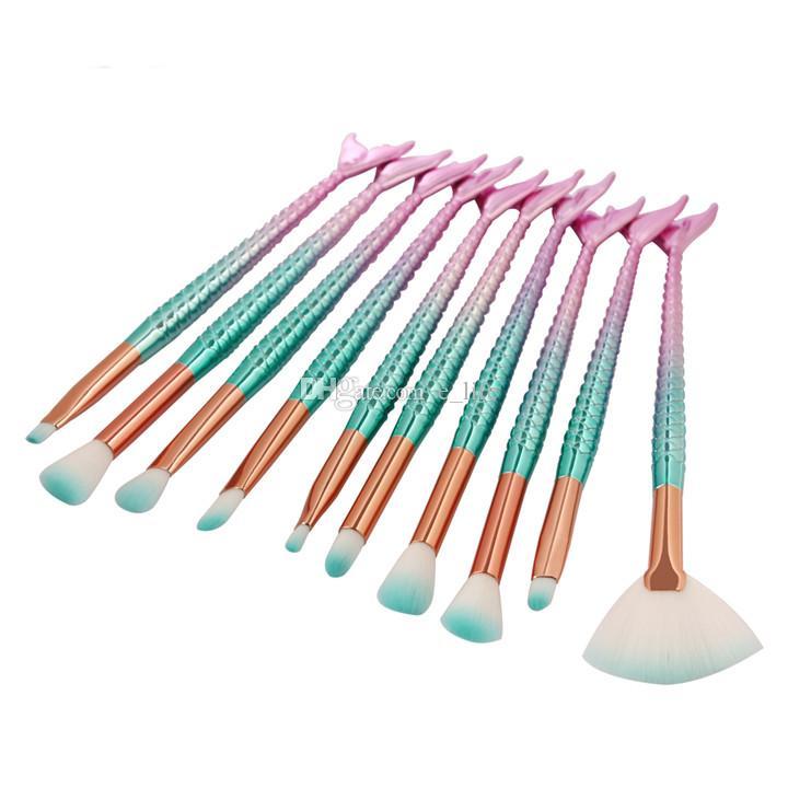 / set Eye Makeup Brushes Set Sirena Mango Diseño Blush Powder Eyebrow Sombra de ojos Eyeliner Eyesocket Blending Nose Fan Make Up Brush
