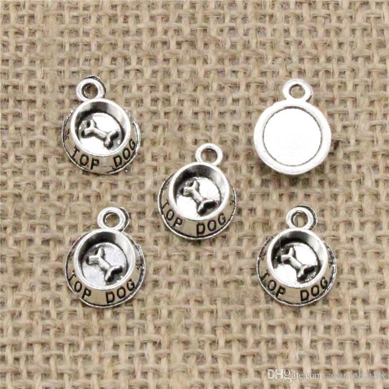 Wholesale 120pcs Charms Tibetan Silver/Bronze Plated dog bowl bone 15*10mm Pendant for Jewelry DIY Hand Made Fitting