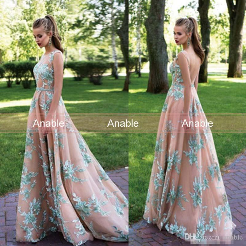 2017 New A Line Prom Dresses Elegant 3d Lace Appliques Backless Vestidos De Fiesta Vintage Garden Evening Party Gowns With Beaded Belt Prom Dresses