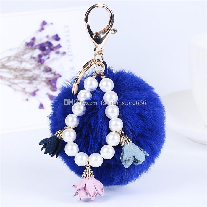Women's Girl's Fur Ball Fluffy Ball with Pearl Strip Handmade Cloth Art Flowers Metal Keychain Keyring Car Key Chains Handbag Charms Gift