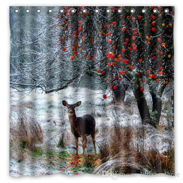 2018 Deer Winter Snow Walk Forest Trees Design Shower Curtain Size 180 X Cm Custom Waterproof Polyester Fabric Bath Curtains From Littemanthree