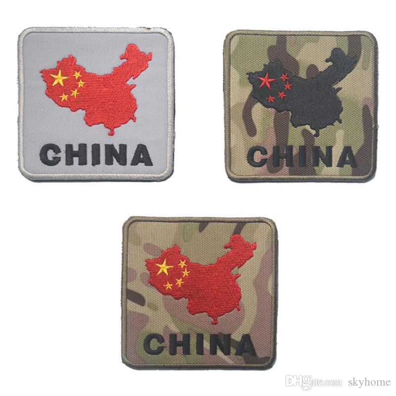 Map Of China Badge Tactical Patch Morale Patches Hook & Loop 3D 100% Embroidery Badge Badges