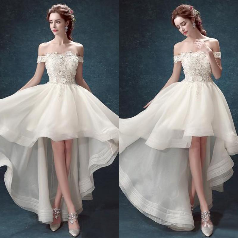 compre modest 2016 new arrivals vestidos de novia high low bajo una
