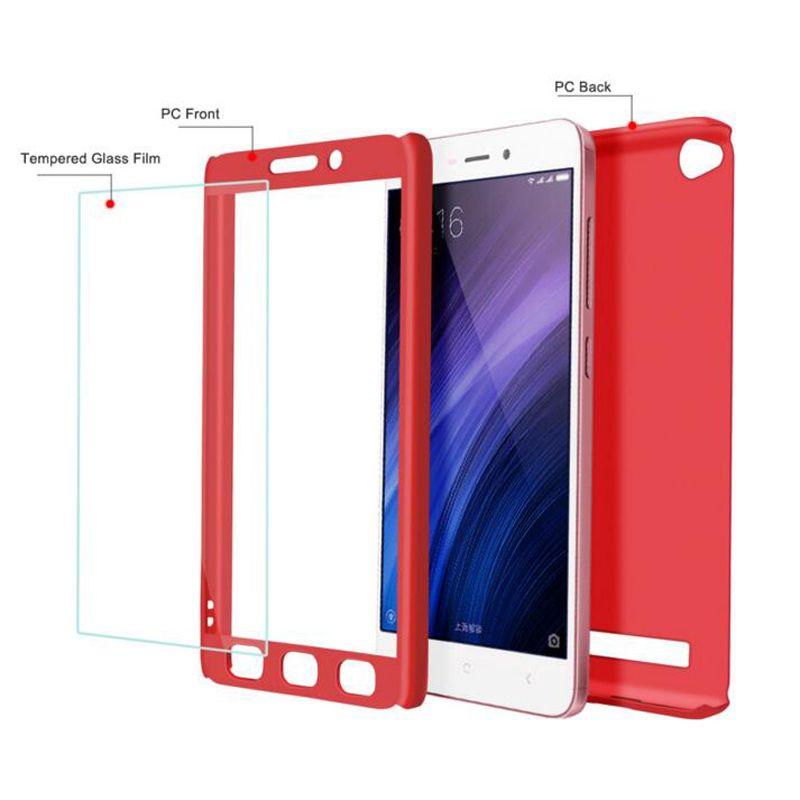 reputable site 0040e 73884 Full Cover 360 Degree Matte PC phone case for Xiaomi 5X Redmi 4X with  screen protector full cover Back case Phone cover