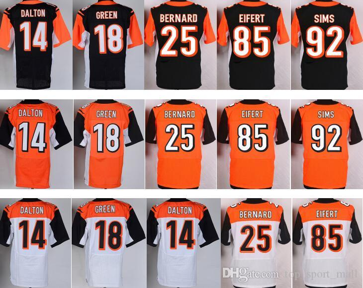 dd21fc13e 2019 Bengals Shirt 14 Andy Dalton 18 A.J.Green Jerseys AJ A J Green 25  Giovani Bernard 85 Tyler Eifert 92 Pat Sims Team Black Orange White From ...