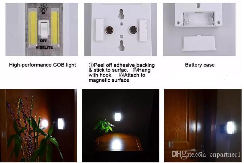 2018 Mini interruptor magnético COB LED inalámbrico ligero de la pared luces de la noche con pilas del gabinete de cocina Garaje Armario de Camp lámpara de emergencia