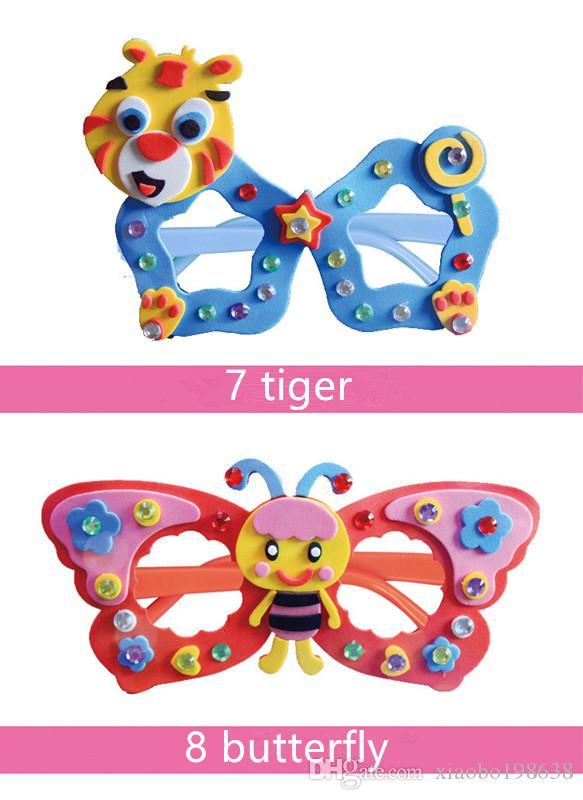 Dibujos animados Eva Espuma Etiqueta Gafas DIY Craft Kit Creativo Kindergarten Juguetes Educativos para Niños Fiesta de Cumpleaños