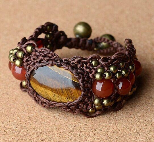 Moda Bohemia China Chic Cuentas de latón / cobre Bells Cera Cordón Ágata Pulseras tejidas del encanto del estilo nacional Joyería étnica tibetana