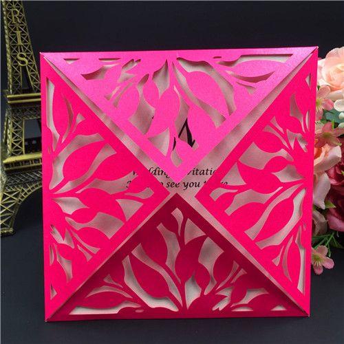 2018 quadrados Laser Cut Lace convites de ouro para o aniversário de casamento aniversário de formatura de casamento, 20 + cores disponíveis