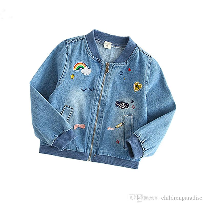 9840096d79e 2017 Girl s Denim Jacket Heart Printed Jeans Jacket for Girls 2-7T ...