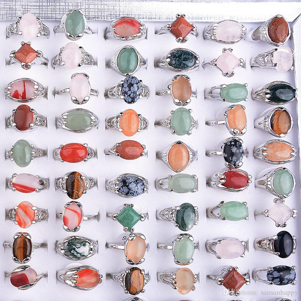 Partihandel Olika Naturliga Unisex Stone Top Rings Storlek 16-20 inklusive displaybox