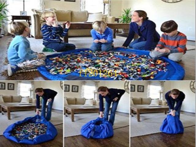 150cm Portable Kids Children Infant Baby Play Mat Large Storage Bags Toys Organizer Blanket Rug Boxes