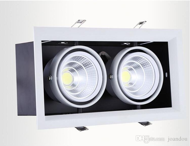 4Pcs/lot double led grille light 2*15w led ceiling down light Warm/Pure/Cold White 30W AR80 COB light two years warranty AC85-265V
