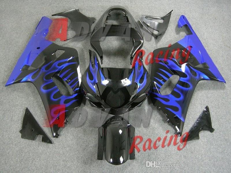 8 gifts Suzuki GSXR 600 750 2001-2003 Fairings Set Bodywork Plastic Black with blue flame pattern