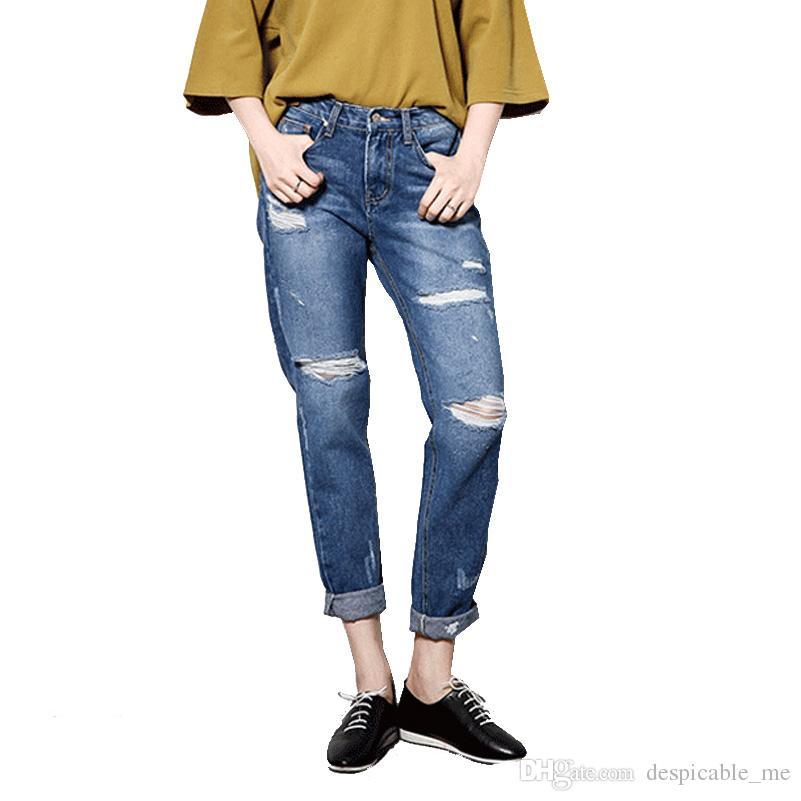 ace06d8e0fc Women s Style Boyfriend Jeans for Women Casual Plus Size Loose Hole ...