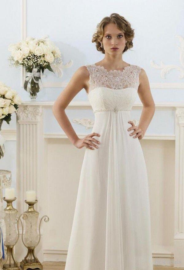 Cheap cintura império vestido de casamento Sheer Jewel decote mangas Lace Top Beach Garden Country Style Chiffon vestidos de noiva frisada Belt