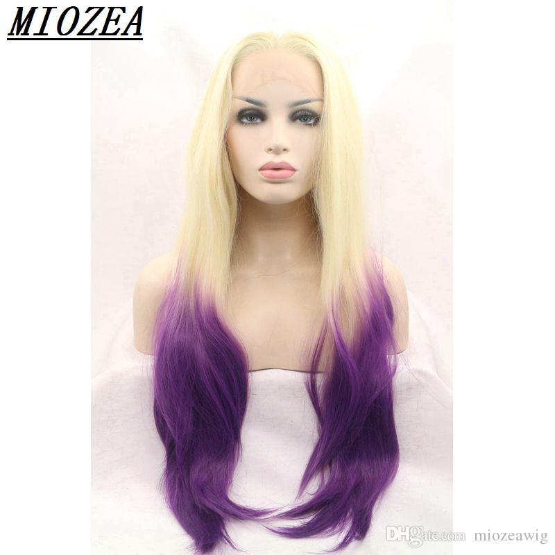 Natural Wave Hair Wig Heat Resistant Fiber Hair Blonde To Purple Two
