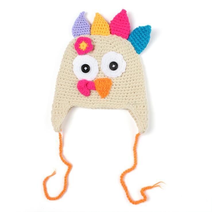 Newest Baby Crochet Turkey Hat Thanksgiving Hat Newborn Animal Photo Prop Handmade Baby Earflap Beanie Cap