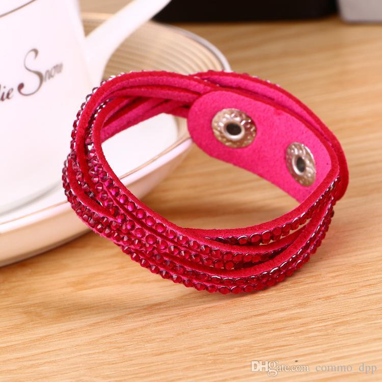 Renkli Yeni Unisex Tek Tabakalı Deri Bilezik Noel Hediyesi diamante örgülü Charm Bilezikler Kadınlar Için Vintage Takı