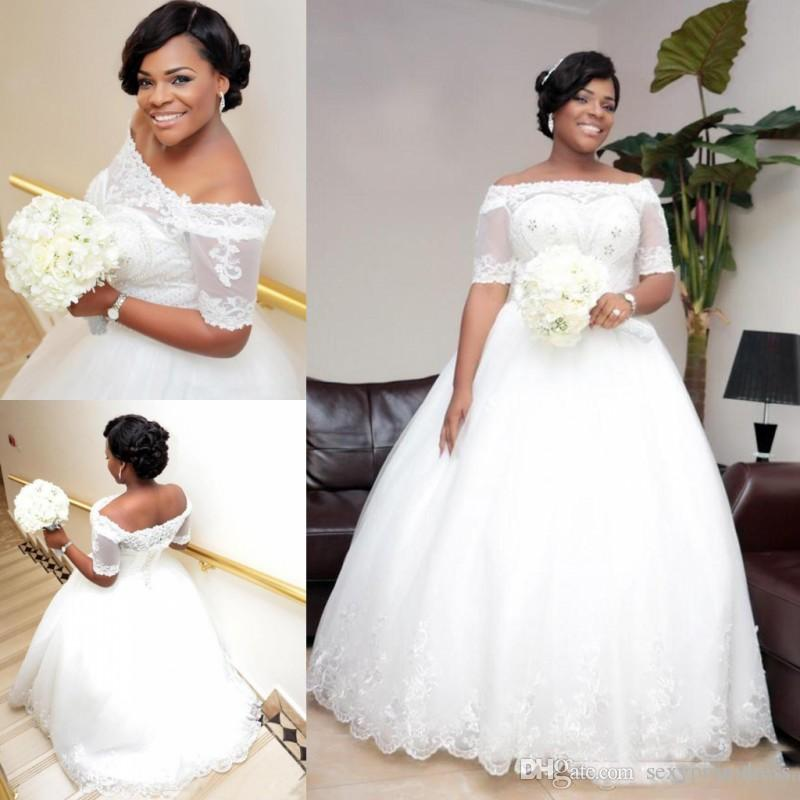 Nigeria Lace Off Shoulder Wedding Dresses Sheer Half Sleeves Beaded
