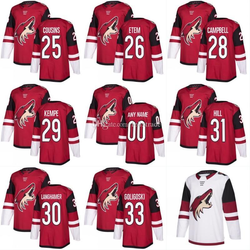 wholesale dealer 026f1 1e3fc 2017-2018 Season Men's 36 Christian Fischer 25 Nick Cousins 26 Emerson Etem  39 Joel Hanley Arizona Coyotes Custom Home Away Hockey Jerseys