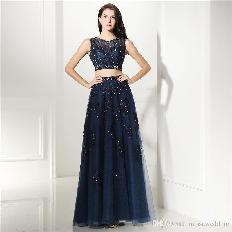 Two Piece Prom Dress Long Navy Blue Dresses Lace Appliques