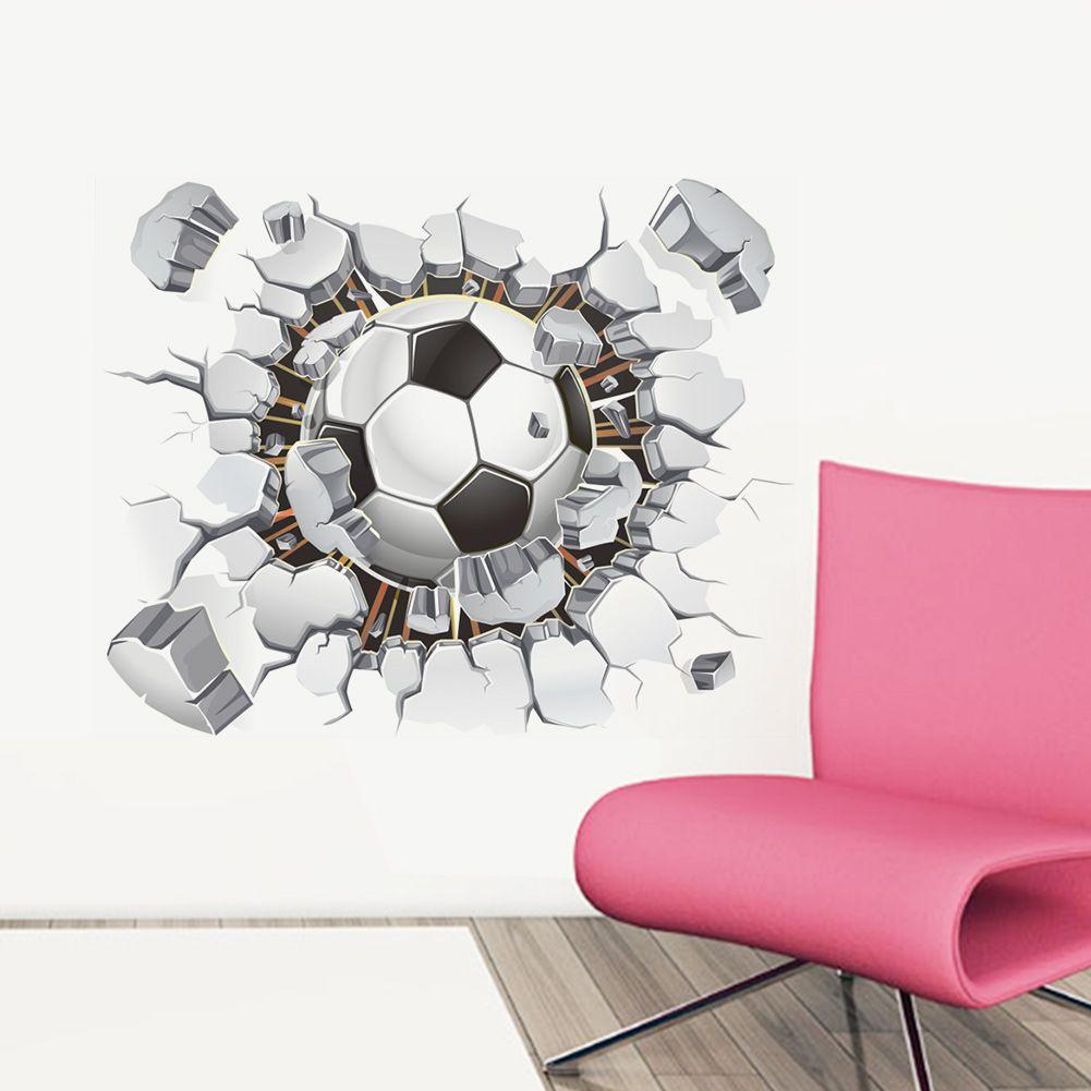 3d 축구 축구 화재 놀이터 깨진 된 벽 구멍보기 견적 목표 홈 decals 아이 방용 벽 스티커 소년 스포츠 벽지