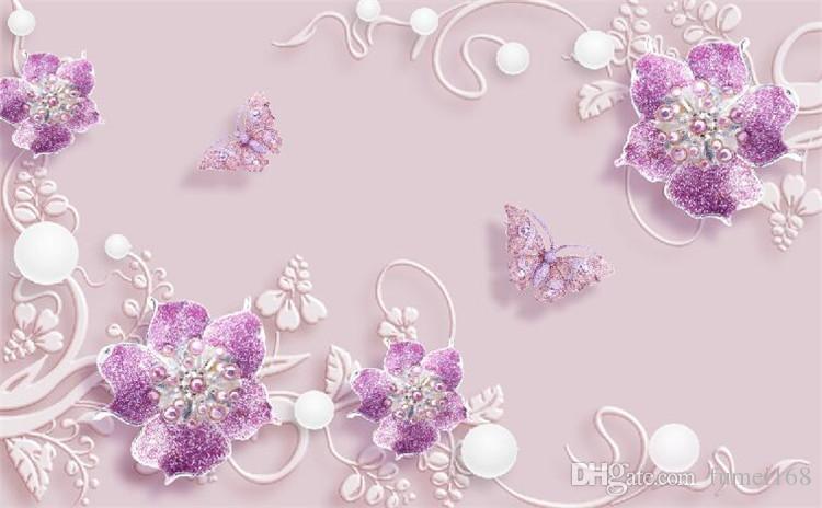 3d papel de parede flor roxa borboleta wall mural papel de parede foto hd home decor wallcoverings para tv quarto papel de parede rolos
