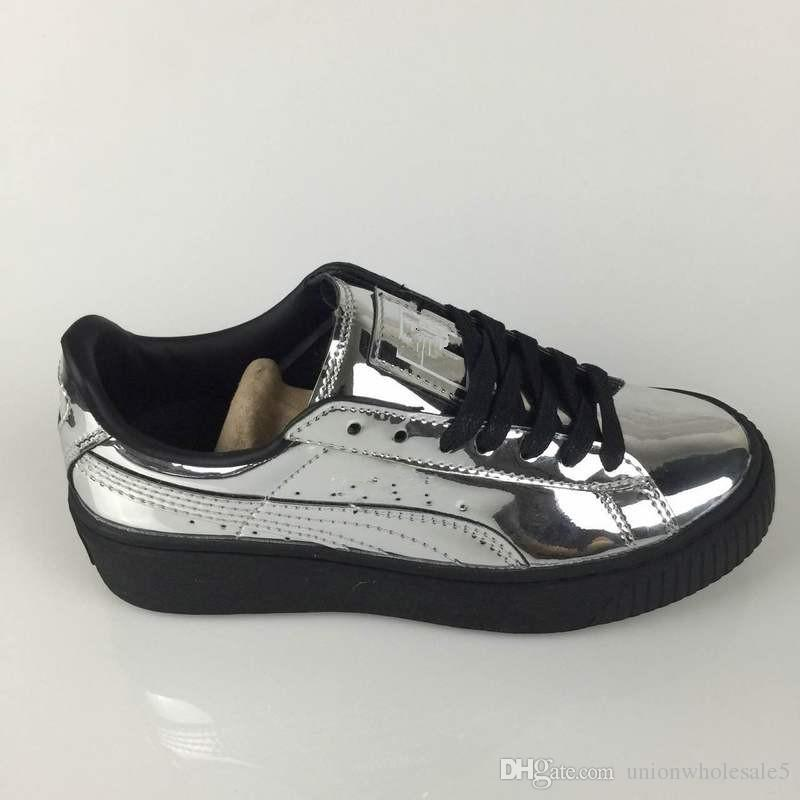 Купить Оптом 2018 Rihanna Fenty X Suede Creeper Black White Pink Oatmeal  Women Men Кроссовки 97549d16c8d52