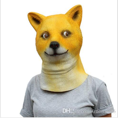 Hot Sale Halloween Party Mask Yellow Dog Costume Cartoon Latex Full Head Overhead Animal Cospaly Masquerade Fancy Dress Up Carnival Mask