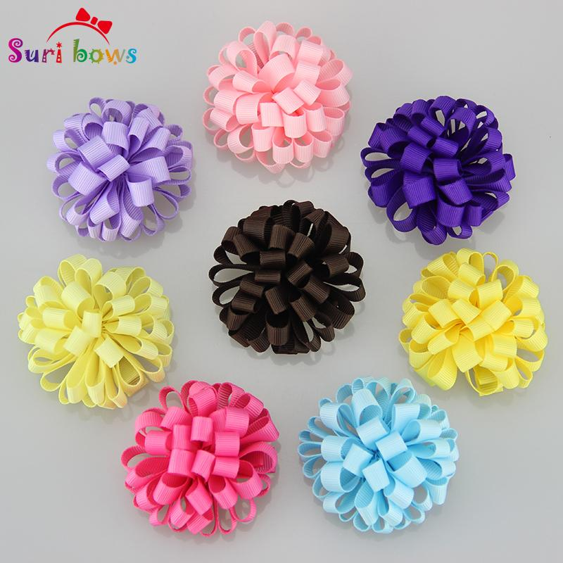 Hot Fashion 18 Pcs /Set Suri Bows Girls Hair Clips Curly Floral Ribbon Hair Accessories Lovely Princess Dot Hairpins Fs005