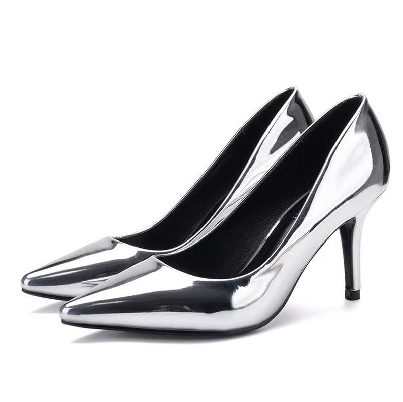 960fcf2aea82 2018 Sexy Women S High Heels Fashion Patent Leather Shoes Woman Pointed Toe  OL Slip On Ladies Pumps Heels Wedding Shoes Prom Shoes Hiking Shoes From ...