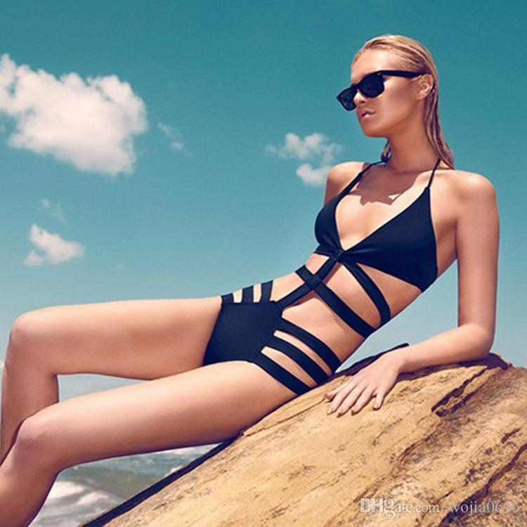 Brand Swimwear For Women,High Waist Swimsuit Bikinis,Sexy Monokini Bathing Suit, Womens Bandage Swimsuit Black Swimwear