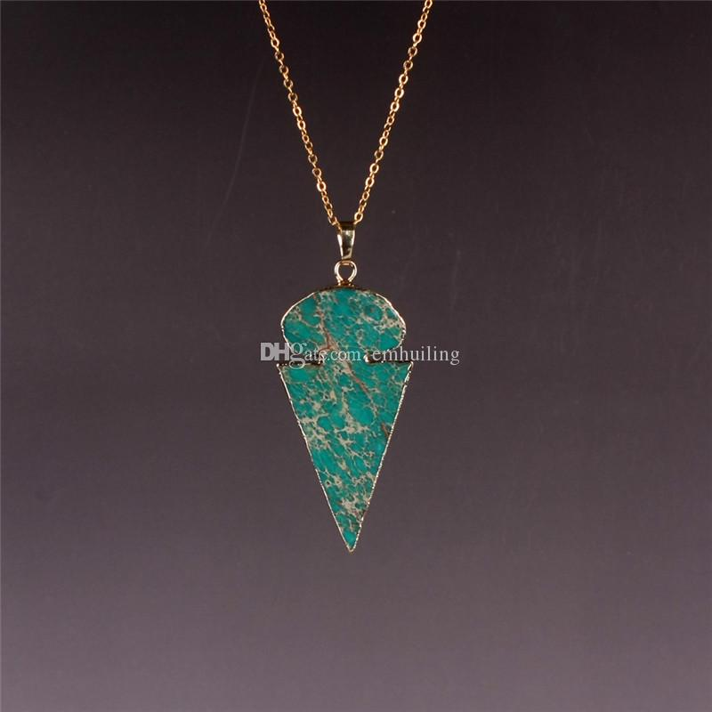 Imperial Jasper Stone Beads Cabochon Necklace New Fashion Accessories Jewelry Green Arrow Head Necklace Gold Gift for Women Girl Wholesale
