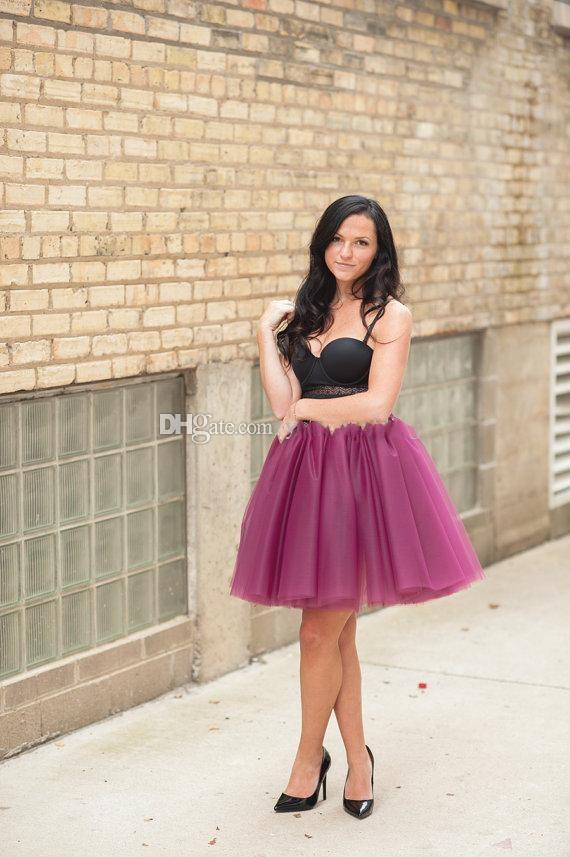 2016 Short Mini Grape Purple Skirts Women Party Dresses Layered Tulle TUTU a LINE Fashion Skirts