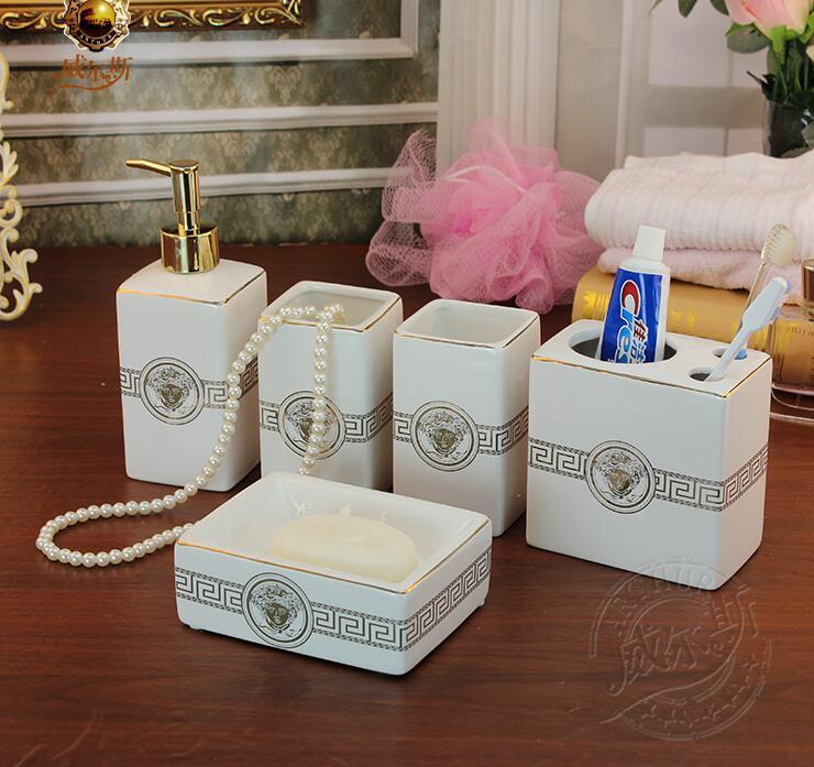 shop bath accessory set online white color ceramic bathroom accessories elegant bathroom sets 1 soap bottle1 soap dish 1toothbrush holder2 cups lh29