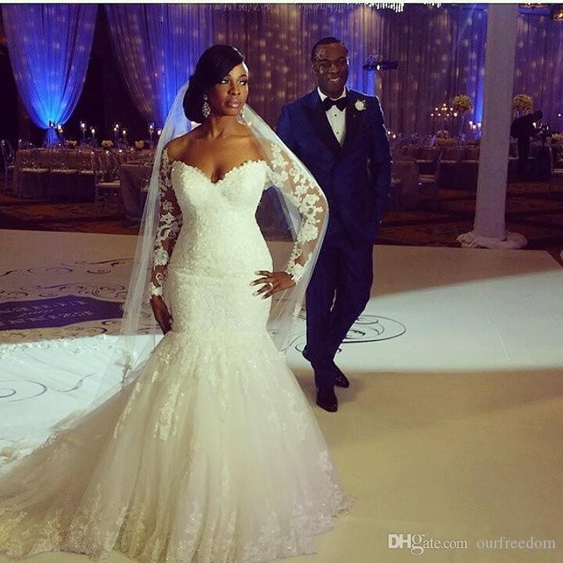 Plus Size Mermaid Wedding Dresses Off The Shoulder Long Sleeves Appliques Lace Custom Made Backless Wedding Gowns Chapel Train