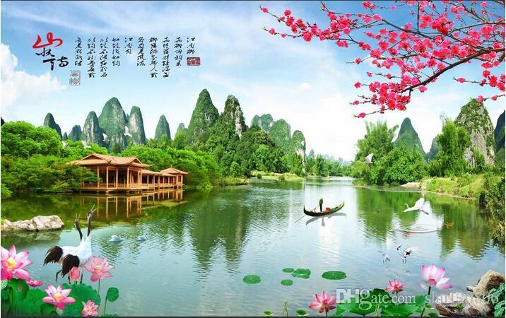 3D 벽지 사용자 정의 사진 부직포 벽화 중국 풍경 정원 방 장식 그림 벽 3d 벽 벽 벽지 3d
