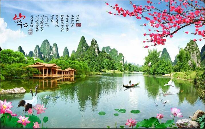 Papel pintado 3d foto personalizada no tejida mural paisaje chino jardín decoración de la habitación pintura 3d murales de papel tapiz para paredes 3d