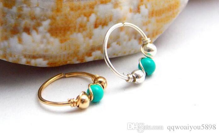 Femmes femmes cercle anneau de nez avec perle verte nez nez oreille manchette argent or couleurs bijoux cadeau