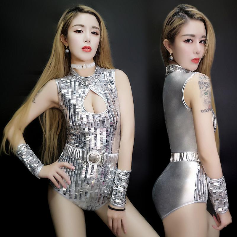 Silvery Sequins Sexy V-neck Bodysuit Nightclub Bar Female DS Costumes Teams  Singer Party Bar Jazz DJ Dancing Performance Jumpsuit Stage Wear Female  Costume ... 2dd98e644ee3