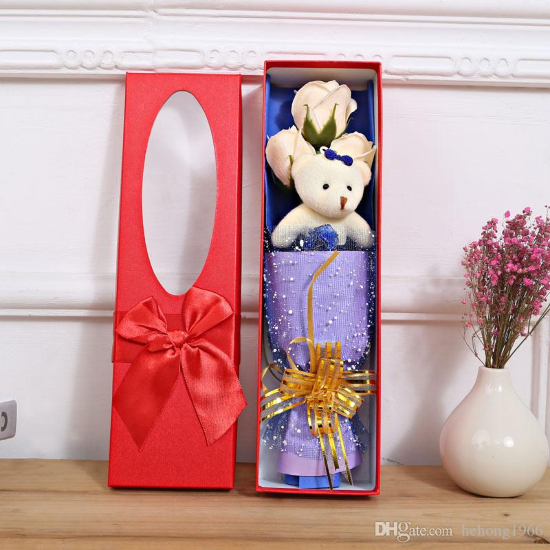 Искусственные мыльные розы с маленькими милыми плюшевыми милостями деликатные коробки без коробки бессмертный цветок или три цветы и медведь 8 8 часов