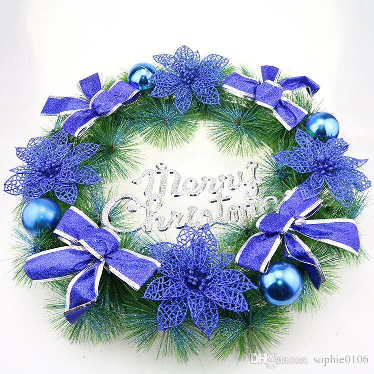 New 40cm Christmas Garlands Pvc Door Wreath Home Decorations Garland Christmas Ornament Wall Decor Hyj 001