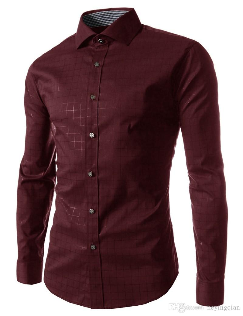 Masculina Slim Mode Hommes Shirt 2018 Nouvelle Marque Casual Chemise À Manches Longues Homme Plaid Camisa Masculina Grande Taille M-XXXXL